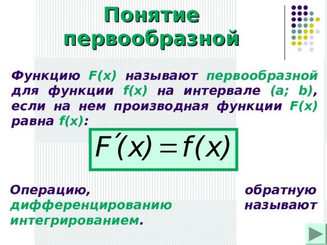Понятие первообразной Функцию F(x)  называют первообразной для функции f(x) на интервале (a; b) , если на нем производная функции F(x) равна f(x) :  Операцию, обратную дифференцированию  называют интегрированием .