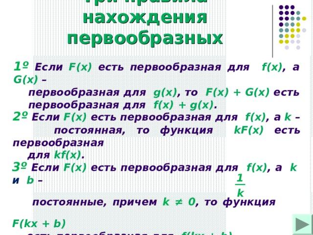 Три правила нахождения первообразных 1 º Если F ( x )  есть первообразная для  f(x) , а G(x) –  первообразная для  g(x) , то  F(x) + G(x)  есть  первообразная для  f(x) +  g(x) . 2º Если F(x)  есть первообразная для  f(x) , а k –  постоянная, то функция  kF(x)  есть первообразная  для  kf (х) . 3º Если F(x)  есть первообразная для  f(x) , а  k и b –  постоянные, причем k ≠ 0 , то функция   F(kx + b )   есть первообразная для  f(kx + b) . 1 k
