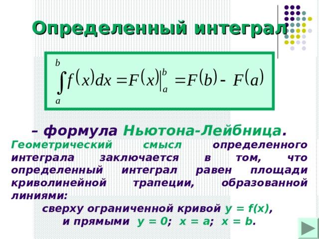 Определенный интеграл – формула Ньютона-Лейбница . Геометрический смысл определенного интеграла заключается в том, что определенный интеграл равен площади криволинейной трапеции, образованной линиями: сверху ограниченной кривой у = f(x) , и прямыми у = 0 ; х = а ; х = b .