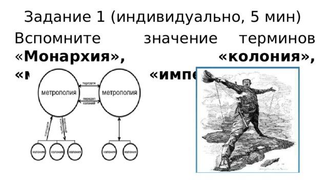 Задание 1 (индивидуально, 5 мин) Вспомните значение терминов « Монархия», «колония», «метрополия», «империализм»