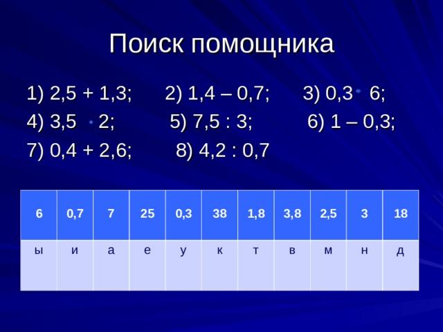 Поиск помощника 1) 2,5 + 1,3; 2) 1,4 – 0,7; 3) 0,3 6; 4) 3,5 2; 5) 7,5 : 3; 6) 1 – 0,3; 7) 0,4 + 2,6; 8) 4,2 : 0,7  6 ы  0,7 и  7 а  25 е  0,3 у  38  1,8 к  3,8 т в  2,5 м  3  18 н д