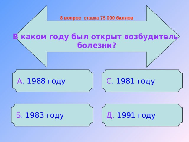 8 вопрос ставка 75 000 баллов В каком году был открыт возбудитель болезни? А . 1988 году С . 1981 году Б . 1983 году Д . 1991 году