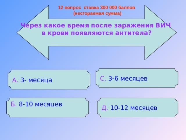 12 вопрос ставка 300 000 баллов  (несгораемая сумма) Через какое время после заражения ВИЧ в крови появляются антитела? С. 3-6 месяцев А.  3- месяца Д.  10-12 месяцев Б.  8-10 месяцев