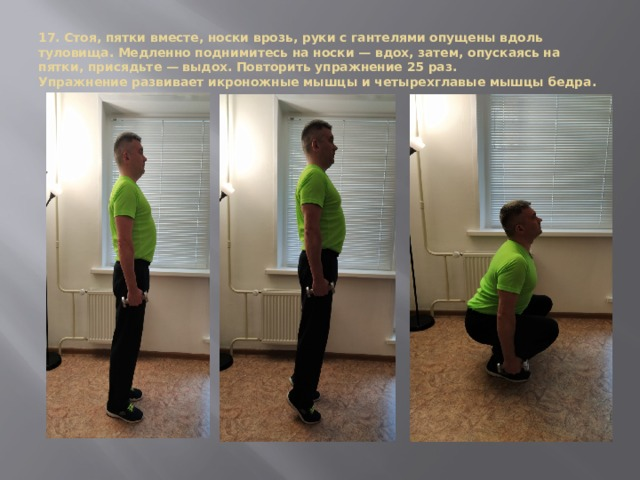 17. Стоя, пятки вместе, носки врозь, руки с гантелями опущены вдоль туловища. Медленно поднимитесь на носки — вдох, затем, опускаясь на пятки, присядьте — выдох. Повторить упражнение 25 раз.  Упражнение развивает икроножные мышцы и четырехглавые мышцы бедра.