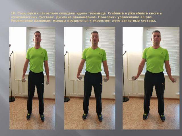 18. Стоя, руки с гантелями опущены вдоль туловища. Сгибайте и разгибайте кисти в лучезапястных суставах. Дыхание равномерное. Повторить упражнение 25 раз.  Упражнение развивает мышцы предплечья и укрепляет луче-запястные суставы.