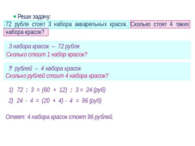   Реши задачу: 72 рубля стоят 3 набора акварельных красок. Сколько стоят 4 таких набора красок? 3 набора красок – 72 рубля  Сколько стоит 1 набор красок?  Сколько рублей стоит 4 набора красок? ? рублей – 4 набора красок (60 + 12) : 3 72 : 3 = = 24 (руб) 1) · 2) = 96 (руб) = (20 + 4)   4    4 24 Ответ: 4 набора красок стоят 96 рублей.