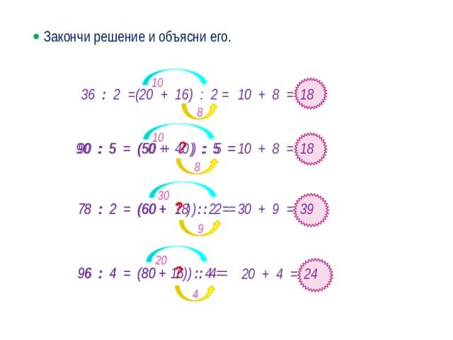   Закончи решение и объясни его. 10 36 : 2 =(20 + 16) : 2 = 10 + 8 = 18 8 10 90 : 5 = (50 + ? ) : 5 =  90 : 5 = (50 +  40 ) : 5 =  10 + 8 = 18 8 30 78 : 2 = (60 +  18 ) : 2 =  78 : 2 = (60 + ? ) : 2 =  30 + 9 = 39 · 9 20 96 : 4 = (80 + ? ) : 4 =  96 : 4 = (80 +  16 ) : 4 =  20 + 4 = 24 4