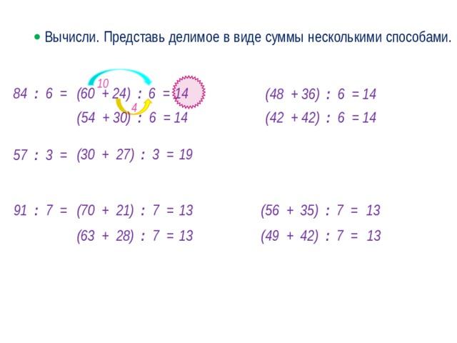   Вычисли. Представь делимое в виде суммы несколькими способами. 10 84 : 6 = 14 (60 + 24) : 6 = (48 + 36) : 6 = 14 4 (42 + 42) : 6 = 14 (54 + 30) : 6 = 14 (30 + 27) : 3 = 19 57 : 3 = 13 13 (56 + 35) : 7 = 91 : 7 = (70 + 21) : 7 = · 13 (49 + 42) : 7 = 13 (63 + 28) : 7 =