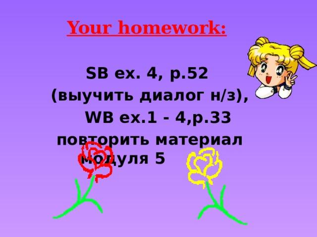 Your homework:   SB ex. 4, p.52 (выучить диалог н/з),  WB ex.1 - 4,p.33 повторить материал модуля 5
