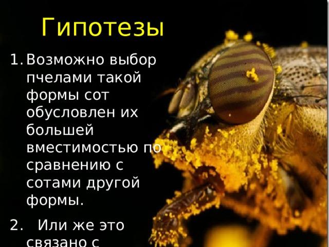 Гипотезы Возможно выбор пчелами такой формы сот обусловлен их большей вместимостью по сравнению с сотами другой формы. 2. Или же это связано с экономией воска, необходимого для изготовления ячеек сот.