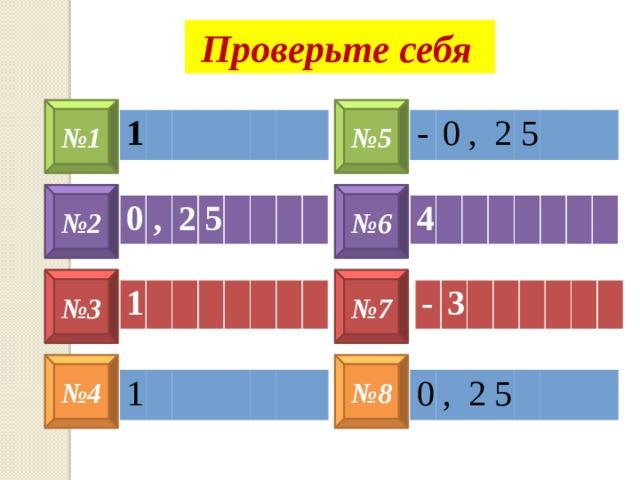 Проверьте себя № 5 № 1 - 1 0 , 2 5 № 6 № 2 4 0 , 2 5 № 3 № 7 1 - 3 № 8 № 4 1 0 , 2 5