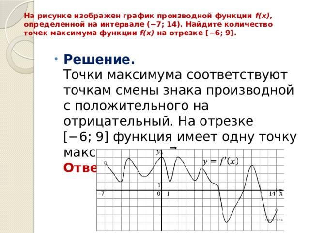 На рисунке изображен график производной функции f(x) , определенной на интервале (−7;14). Найдите количество точек максимума функции f(x) на отрезке [−6;9].