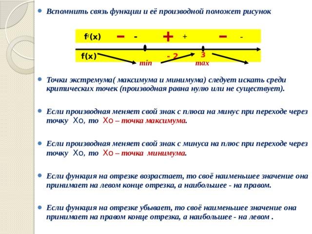 Вспомнить связь функции и её производной поможет рисунок      Точки экстремума( максимума и минимума) следует искать среди критических точек (производная равна нулю или не существует).  Если производная меняет свой знак с плюса на минус при переходе через точку  Хо, то Хо – точка максимума .  Если производная меняет свой знак с минуса на плюс при переходе через точку  Хо, то Хо – точка минимума .  Если функция на отрезке возрастает, то своё наименьшее значение она принимает на левом конце отрезка, а наибольшее - на правом.  Если функция на отрезке убывает, то своё наименьшее значение она принимает на правом конце отрезка, а наибольшее - на левом .