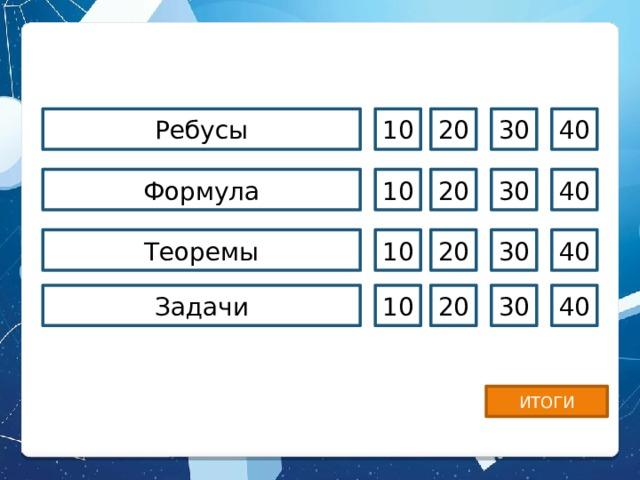 Ребусы 10 20 30 40 20 40 Формула 30 10 Теоремы 10 20 30 40 Задачи 10 20 30 40 ИТОГИ