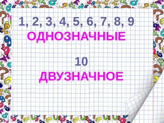 1, 2, 3, 4, 5, 6, 7, 8, 9 ОДНОЗНАЧНЫЕ 10 ДВУЗНАЧНОЕ