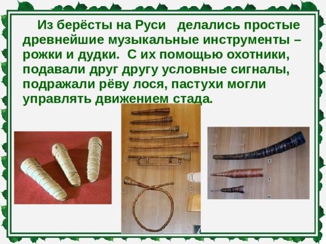 Из берёсты на Руси делались простые древнейшие музыкальные инструменты – рожки и дудки. С их помощью охотники, подавали друг другу условные сигналы, подражали рёву лося, пастухи могли управлять движением стада.