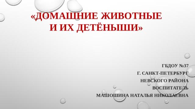 «Домашние животные и их детёныши» ГБДОУ №37 г. Санкт-Петербург Невского района воспитатель Машошина Наталья Николаевна