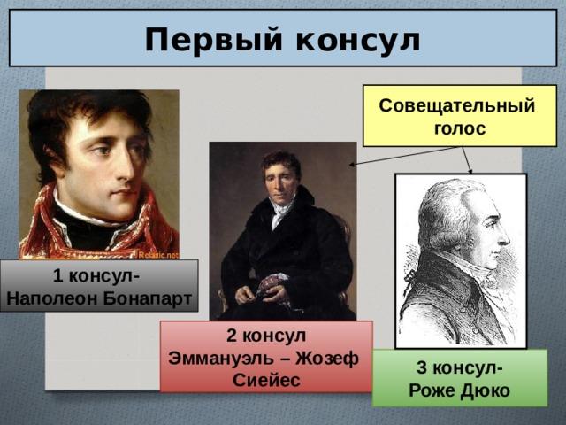 Первый консул Совещательный голос 1 консул- Наполеон Бонапарт 2 консул Эммануэль – Жозеф Сиейес 3 консул- Роже Дюко