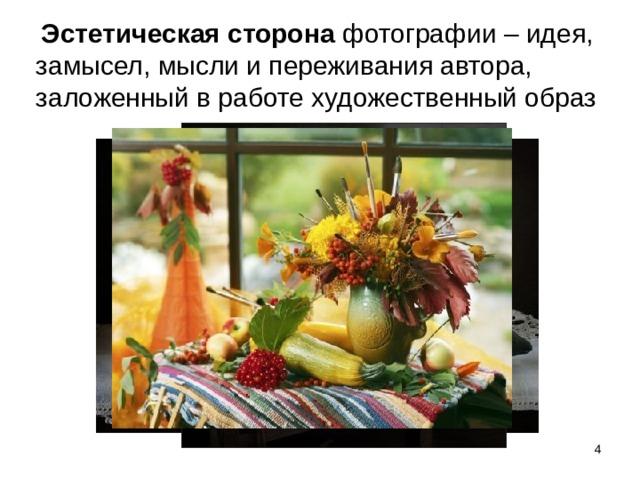 Эстетическая сторона фотографии –  идея, замысел, мысли и переживания автора, заложенный в работе художественный образ