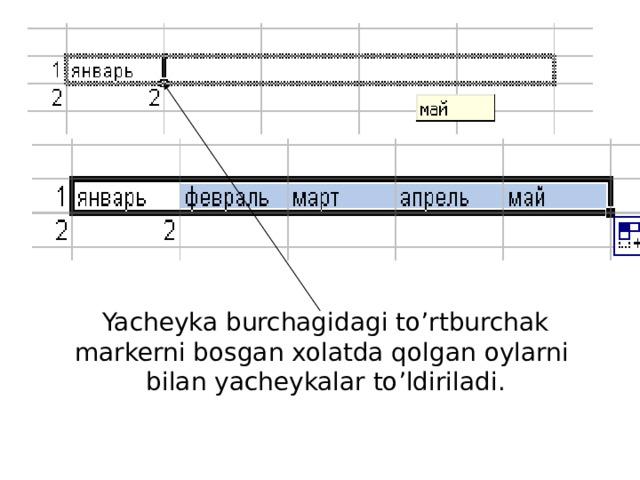 Yacheyka burchagidagi to'rtburchak markerni bosgan xolatda qolgan oylarni bilan yacheykalar to'ldiriladi.