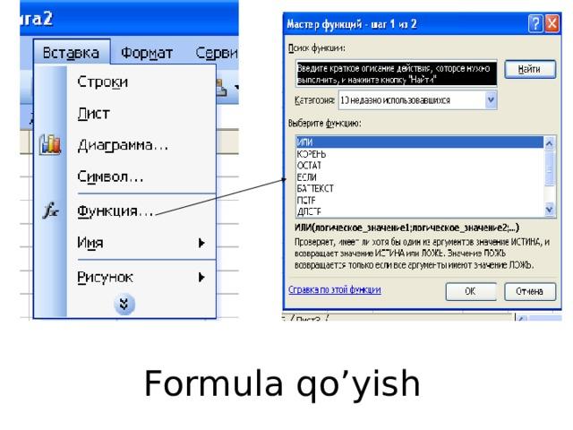 Formula qo'yish