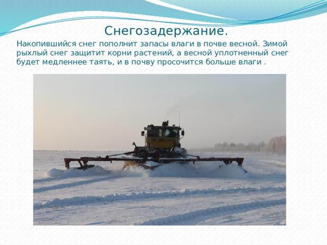 Снегозадержание.  Накопившийся снег пополнит запасы влаги в почве весной. Зимой рыхлый снег защитит корни растений, а весной уплотненный снег будет медленнее таять, и в почву просочится больше влаги .