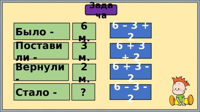 Задача Было - 6 м. 6 – 3 + 2 Поставили - 3 м. 6 + 3 + 2 Вернули - 2 м. 6 + 3 - 2 Стало - ? 6 – 3 - 2