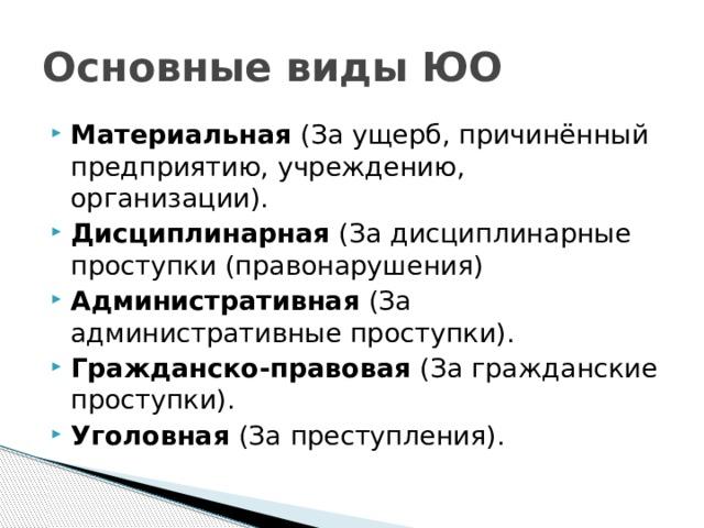 Основные виды ЮО