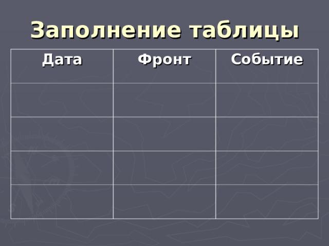 Заполнение таблицы Дата Фронт Событие