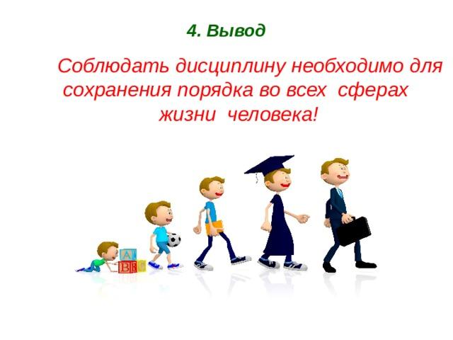 4. Вывод  Соблюдать дисциплину необходимо для сохранения порядка во всех сферах жизни человека!