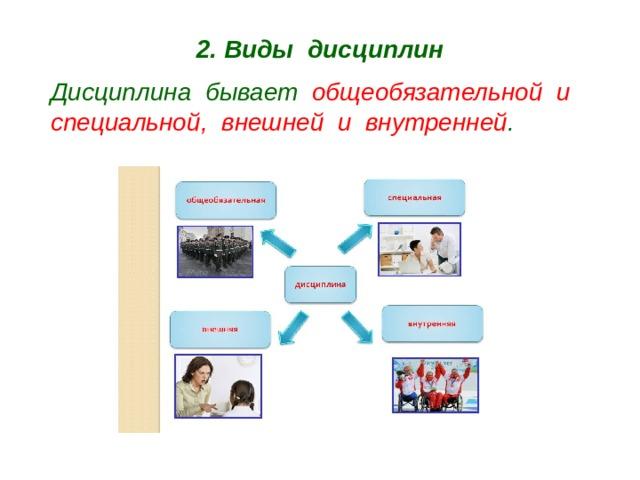 2. Виды дисциплин Дисциплина бывает общеобязательной и специальной, внешней и внутренней .