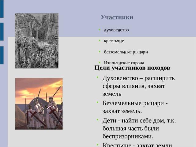 Участники  духовенство крестьяне безземельные рыцари Итальянские города Цели участников походов