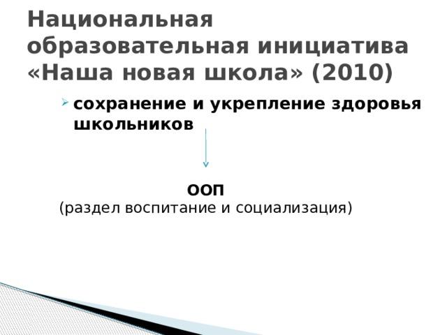 Национальная образовательная инициатива «Наша новая школа» (2010) сохранение и укрепление здоровья школьников ООП (раздел воспитание и социализация)