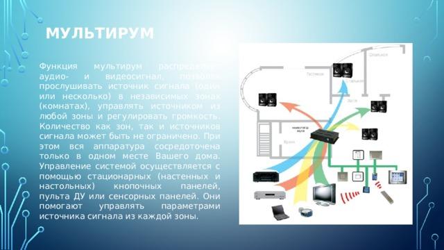 Мультирум Функция мультирум распределяет аудио- и видеосигнал, позволяя прослушивать источник сигнала (один или несколько) в независимых зонах (комнатах), управлять источником из любой зоны и регулировать громкость. Количество как зон, так и источников сигнала может быть не ограничено. При этом вся аппаратура сосредоточена только в одном месте Вашего дома. Управление системой осуществляется с помощью стационарных (настенных и настольных) кнопочных панелей, пульта ДУ или сенсорных панелей. Они помогают управлять параметрами источника сигнала из каждой зоны.