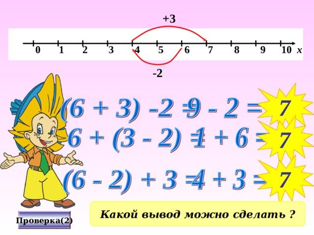 +3   0 1 2 3 4 5 6 7 8 9 10 х -2 7 7 7 Какой вывод можно сделать ? Проверка(2)
