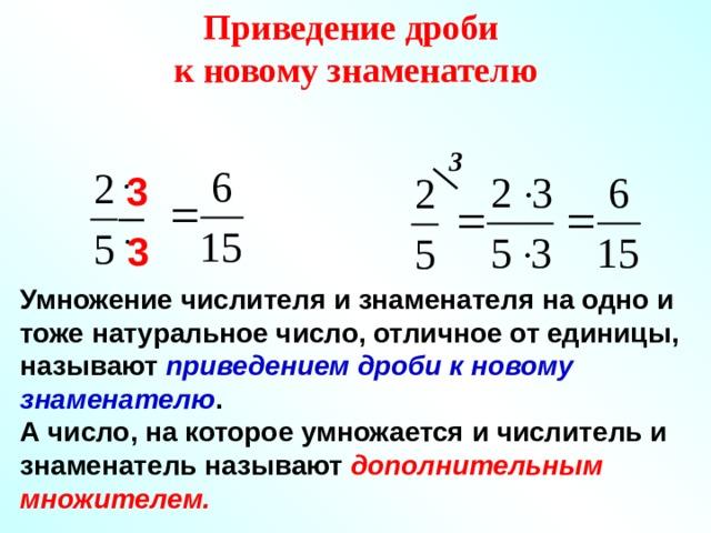 Приведение дроби к новому знаменателю 3 3 3 Умножение числителя и знаменателя на одно и тоже натуральное число, отличное от единицы, называют приведением дроби к новому знаменателю . А число, на которое умножается и числитель и знаменатель называют дополнительным множителем. 4