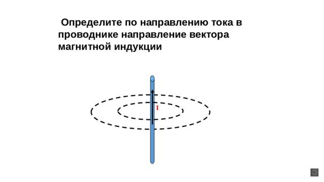 Определите по направлению тока в проводнике направление вектора магнитной индукции I I I