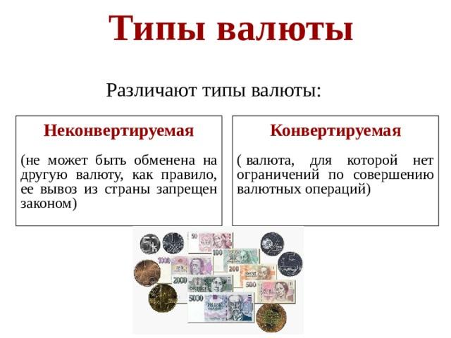 Типы валюты  Различают типы валюты: Неконвертируемая Конвертируемая (не может быть обменена на другую валюту, как правило, ее вывоз из страны запрещен законом) ( валюта, для которой нет ограничений по совершению валютных операций )