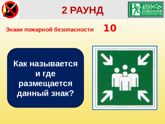 2 РАУНД Знаки пожарной безопасности  10 Как называется и где размещается данный знак?