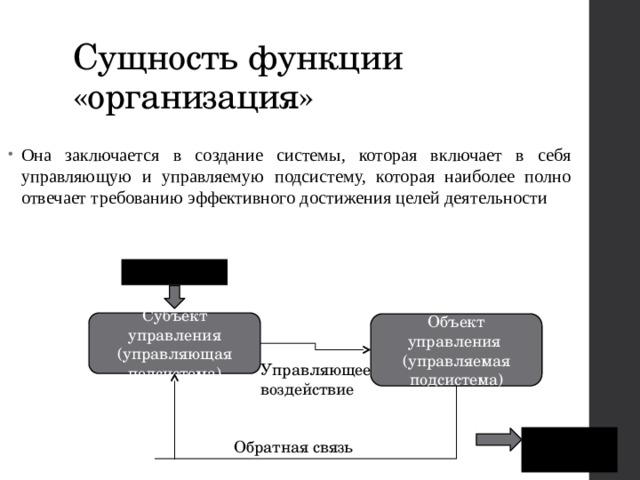 Сущность функции «организация» Она заключается в создание системы, которая включает в себя управляющую и управляемую подсистему, которая наиболее полно отвечает требованию эффективного достижения целей деятельности ЦЕЛЬ Субъект управления (управляющая подсистема) Объект управления (управляемая подсистема) Управляющее воздействие РЕЗУЛЬТАТ Обратная связь
