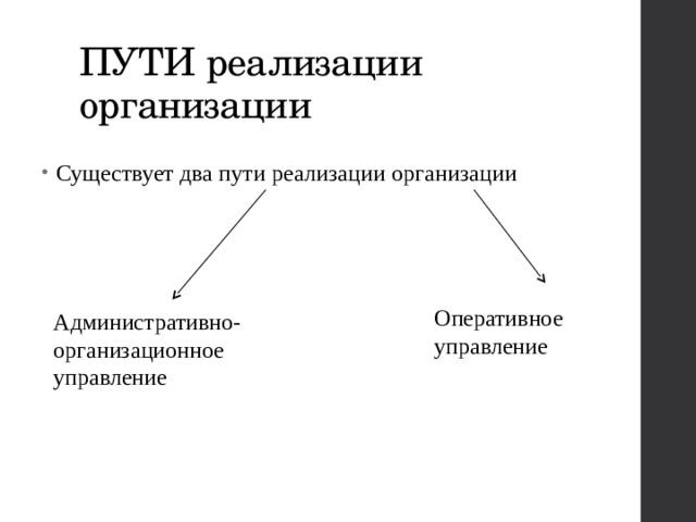 ПУТИ реализации организации Существует два пути реализации организации Оперативное управление Административно-организационное управление