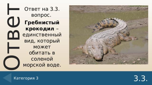 Ответ на 3.3. вопрос. Гребнистый крокодил – единственный вид, который может обитать в соленой морской воде. Категория 3 3.3.