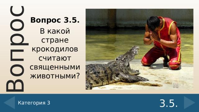 Вопрос 3.5. В какой стране крокодилов считают священными животными? Категория 3 3.5.