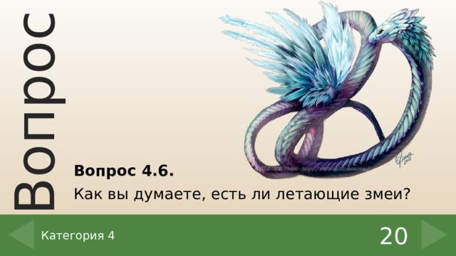 Вопрос 4.6. Как вы думаете, есть ли летающие змеи? 20 Категория 4