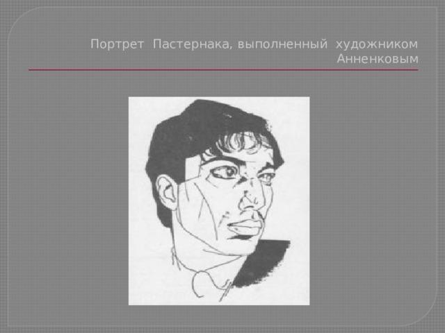 Портрет Пастернака, выполненный художником Анненковым