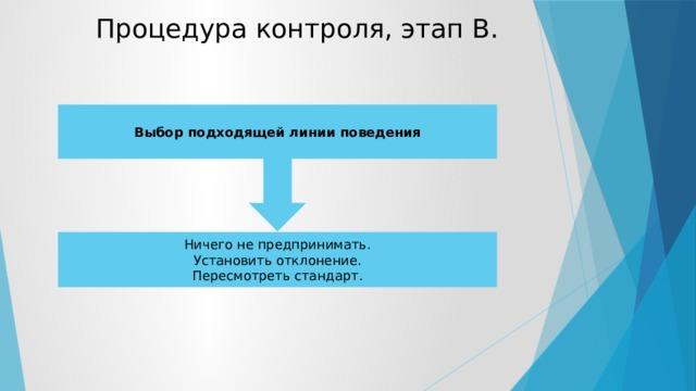 Процедура контроля, этап В. Выбор подходящей линии поведения Ничего не предпринимать. Установить отклонение. Пересмотреть стандарт.