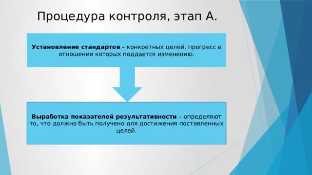 Процедура контроля, этап А. Установление стандартов – конкретных целей, прогресс в отношении которых поддается изменению. Выработка показателей результативности – определяют то, что должно быть получено для достижения поставленных целей.