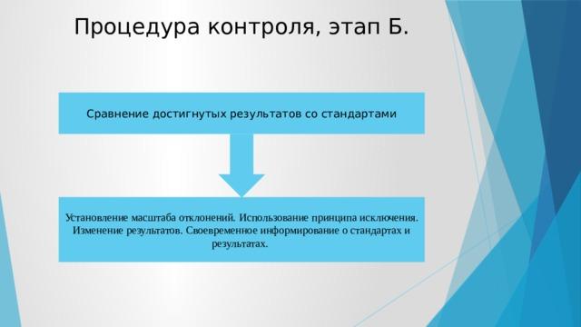 Процедура контроля, этап Б. Сравнение достигнутых результатов со стандартами Установление масштаба отклонений. Использование принципа исключения. Изменение результатов. Своевременное информирование о стандартах и результатах.