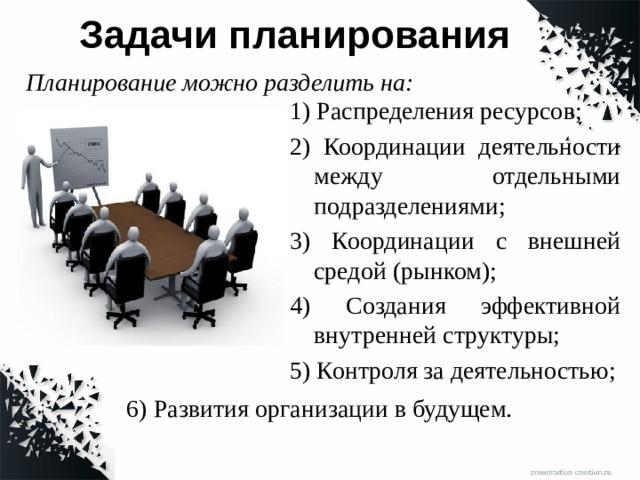 Задачи планирования Планирование можно разделить на: 1) Распределения ресурсов; 2) Координации деятельности между отдельными подразделениями; 3) Координации с внешней средой (рынком); 4) Создания эффективной внутренней структуры; 5) Контроля за деятельностью; 6) Развития организации в будущем.