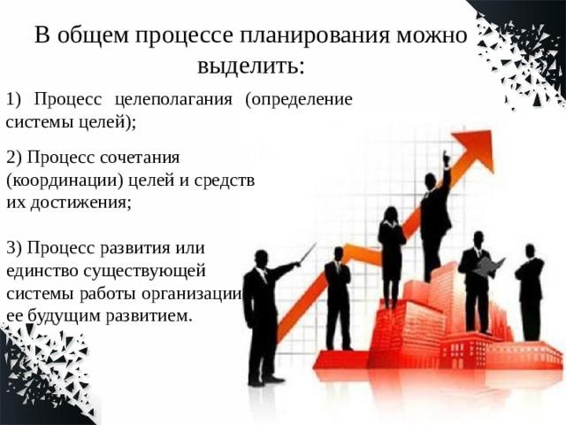 В общем процессе планирования можно выделить: 1) Процесс целеполагания (определение системы целей); 2) Процесс сочетания (координации) целей и средств их достижения; 3) Процесс развития или единство существующей системы работы организации с ее будущим развитием.
